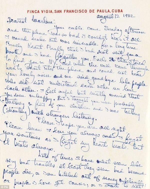 ჰემინგუეის მიერ მარლენ დიტრიხისთვის მიწერილი სასიყვარულო წერილი აუქციონზე გაიყიდება
