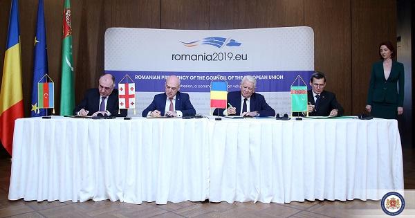 საქართველო, რუმინეთი, აზერბაიჯანიდა თურქმენეთი ახალი სატრანსპორტო დერეფნების განვითარებაზე შეთანხმდნენ