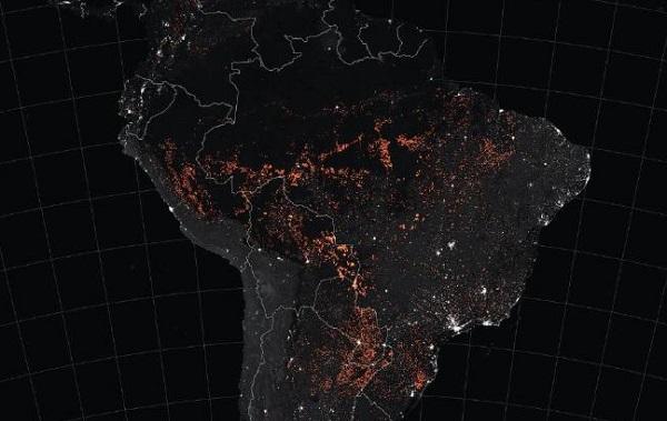 Nasa ამაზონის ტყის ხანძრის კოსმოსიდან გადაღებულ ფოტოებს აქვეყნებს