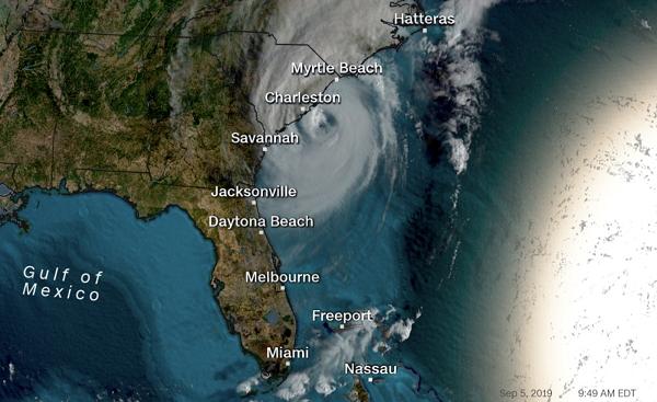 """ქარიშხალმა""""დორიანმა"""" ამერიკის აღმოსავლეთ სანაპიროს მიაღწია, თუმცა კურსი შეიცვალა და ჩრდილოეთით მიემართება"""