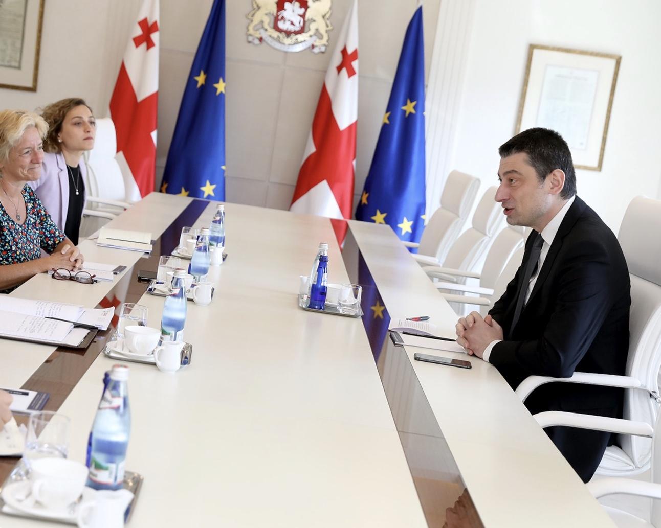 პრემიერ-მინისტრი საერთაშორისო ექსპერტ მეგი ნიკოლსონს ადამიანის უფლებების დაცვის საკითხებზე ესაუბრა