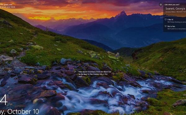 დალაშქრე შავი ზღვისპირეთიდან კასპიის ზღვამდე მდებარე მთები - Microsoft Windows-ის ეკრანზე სვანეთის ფოტო გამოჩნდება