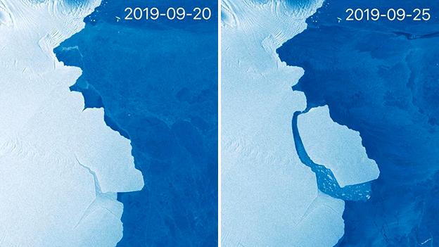 ანტარქტიკას, 315 მილიარდი ტონა აისბერგი, ფინეთის ერთ-ერთი კუნძულის ზომის ყინული მოსწყდა | ვიდეო