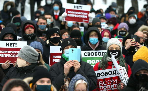 რუსეთში, მთელი ქვეყნის მასშტაბით ნავალნის მხარდამჭერი საპროტესტო აქციები მიმდინარეობს